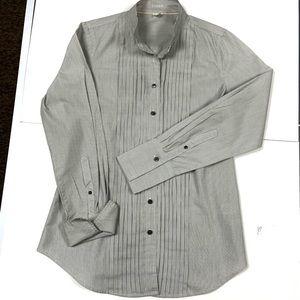 Gray striped button-down longsleeve J.Crew blouse